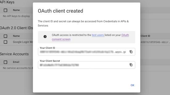 Copy Client Id Client Secret Id