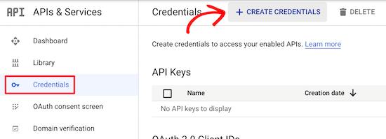 Create Credentials Gcs
