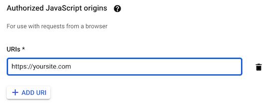 Javascript Origins Enter Url