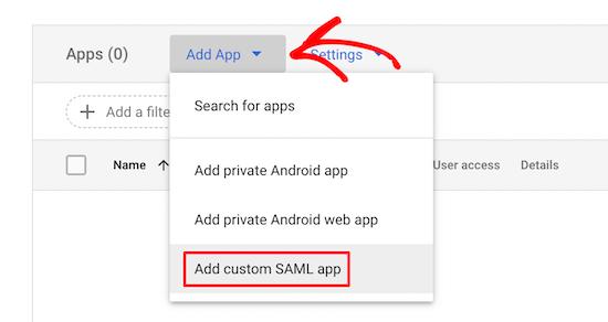 Select Add App Drop Down