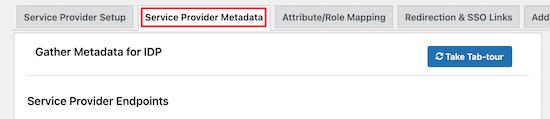Service Provider Metadata Menu Option