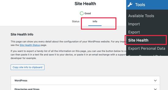 Site Health Info Wordpress