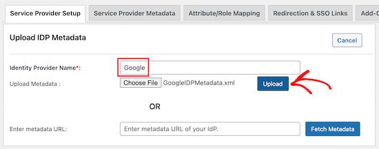 Upload Idp Metadata