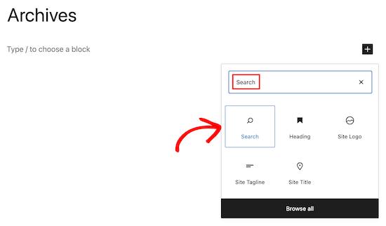 Select Search Block